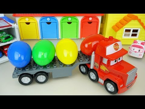 Cars Carrier truck and surprise eggs Carbot car toys play