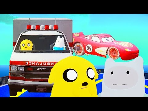 Cartoons for children! The New Adventures of Finn and Jake! Racing in a wheelbarrow Makvin! The stee