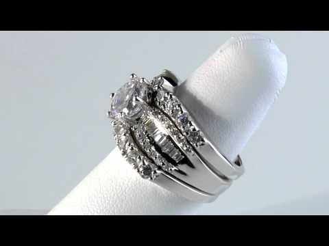 Platinum Over Sterling Cubic Zirconia Wedding Set DiamonUltra CZ by PalmBeach Jewelry