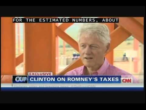 071912 - CNN's Erin Burnett with Bill Clinton on Mitt Romney and his tax returns.