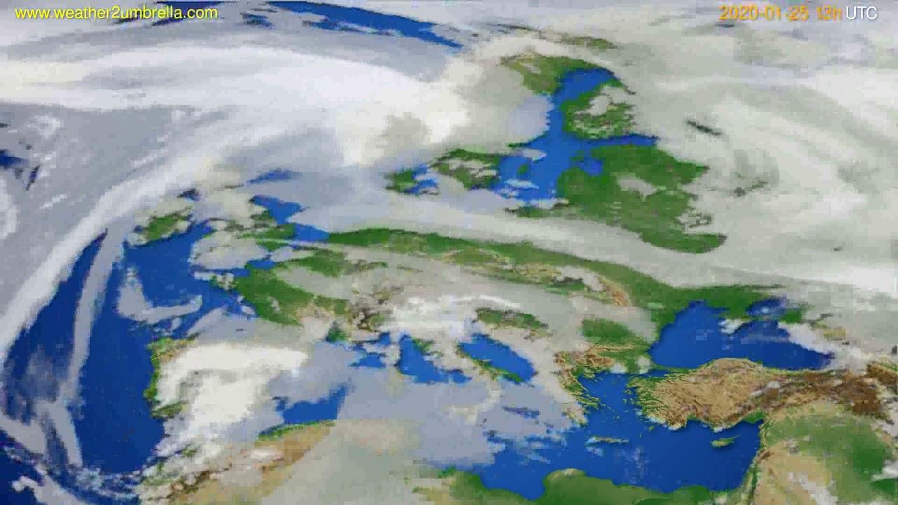 Cloud forecast Europe // modelrun: 12h UTC 2020-01-24