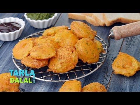 Aloo Pakora, Aloo Bhaji, Potato pakoda by Tarla Dalal