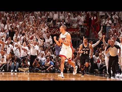 Battier - Shane Battier hit SIX three-pointers in the game 7 showdown with the Spurs in South Beach, helping the Heat win their second consecutive NBA title - check ou...