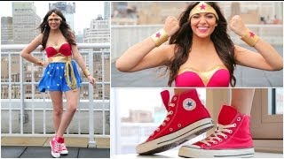 DIY Wonder Woman Halloween Costume + Makeup! - YouTube
