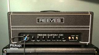 Very brief demo of the Custom 100 amp from Reeves Amplification. I will make a longer and more in depth video of the amp soon.For those wondering - two of the inputs are linked together just like David Gilmour did to get a better tone.