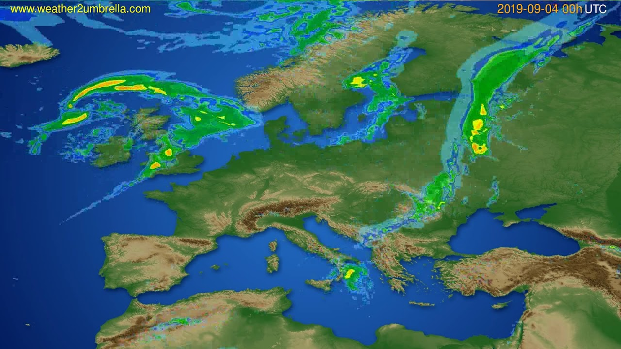 Radar forecast Europe // modelrun: 12h UTC 2019-09-03