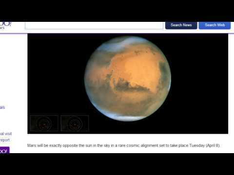 Earth - More info at links: http://news.yahoo.com/rare-sight-mars-earth-sun-align-next-week-114608526.html.