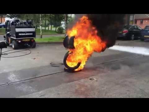 FireBug RescueMax WaterMist skid extinguishing tyre fire