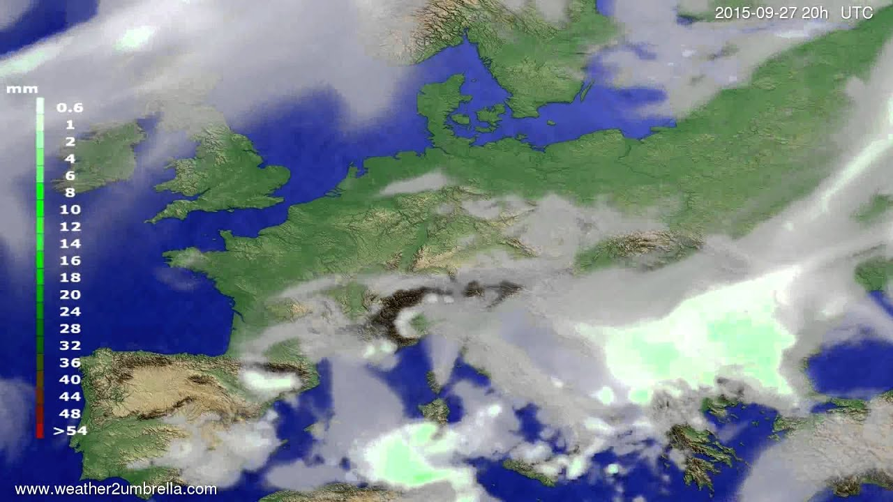 Precipitation forecast Europe 2015-09-25