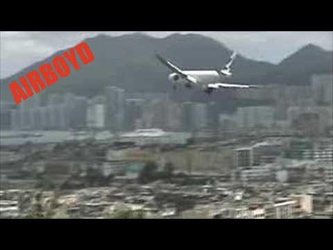 Cathay Pacific 777 Crosswind Landing Kai Tak Airport