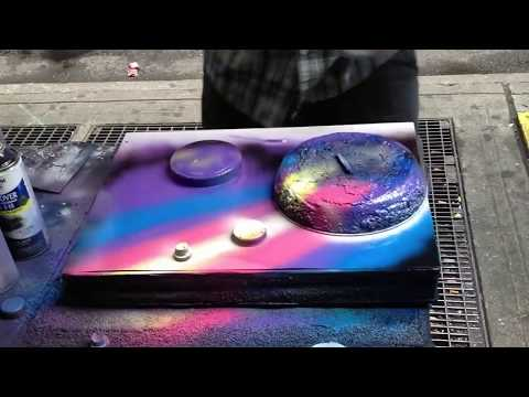artist - New York guy creates an unbelieveable masterpiece only by using some spray cans... Also check out this artwork: http://www.youtube.com/watch?v=SCehAiG89Ck.