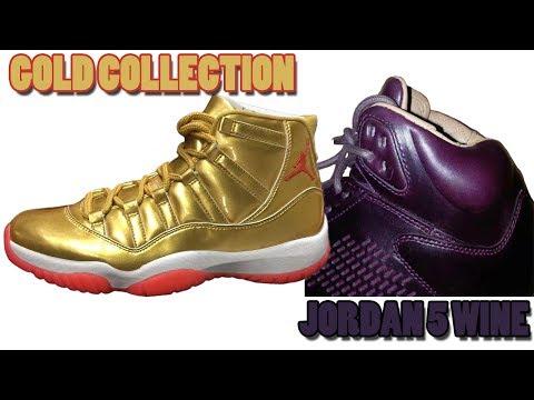 Air Jordan 11 GOLD + COLLECTION, Jordan 5 PREMIUM WINE, Jordan 5 CAMO and More