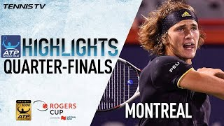 Watch Friday highlights from the Coupe Rogers, featuring quarter-final wins for Alexander Zverev, Roger Federer, Denis...