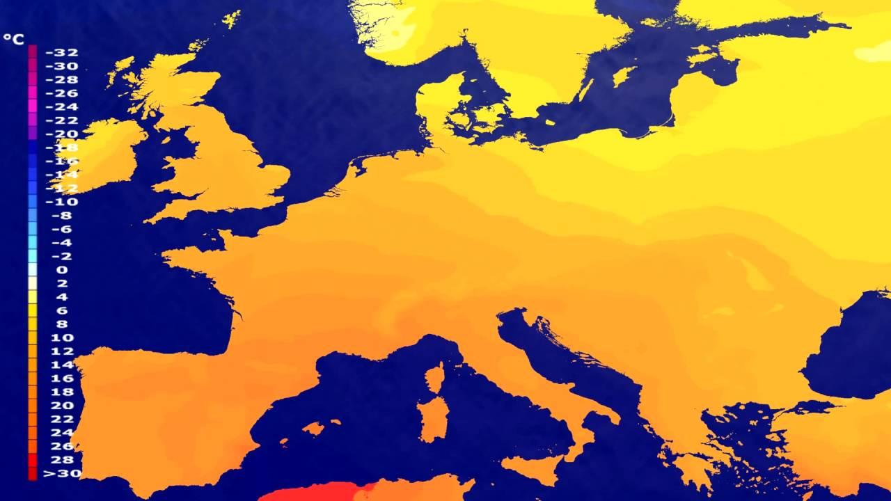 Temperature forecast Europe 2016-07-05