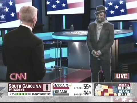 hologram performance - CNN Will I Am Hologram, First time on TV.