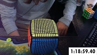 Video 13x13 Rubik's Cube Solved in 1:18:59.40 (Timelapse) MP3, 3GP, MP4, WEBM, AVI, FLV Juli 2018