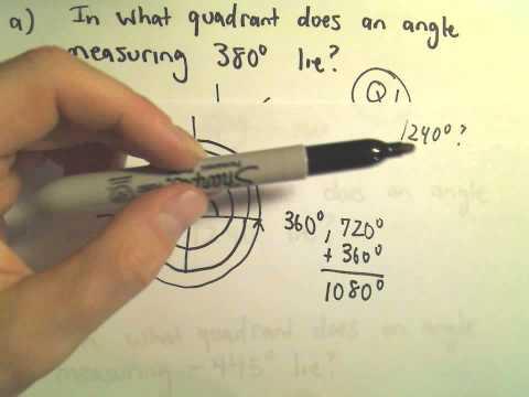 Das Finden des Quadranten in dem ein  Winkel liegt - Beispiel 2