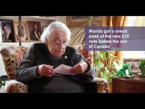 Sister of woman featured on new Canadian $10 note sees the bill for the first time.