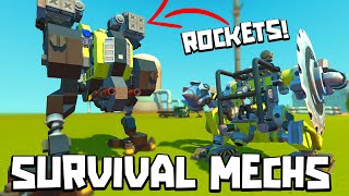 EPIC SURVIVAL MECHS in SCRAP MECHANICS CREATIONS!!