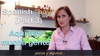 """Download FREE eBook → http://www.practiquemos.com/newsSoftware to practice (PC-Mac) → http://www.practiquemos.com/espanolFollow me:facebook → http://www.facebook.com/PRACTIQUEMOSGoogle+ → http://google.com/+PractiquemosEspanolTwitter → @practiquemosFREE SPANISH LESSONS - by Catalina Moreno EscobarLearn and practice Spanish with these free online Spanish lessons:""""haber"""" verbo impersonal para expresar """"existencia""""HAY + CANTIDAD INDEFINIDA + SUSTANTIVO  (Parte 3)Los adjetivos y frases más frecuentes para indicar cantidad indefinida en español son:Para indicar cantidad limitada o reducida…- poco, poca, pocos, pocas- algunos, algunas- unos, unaa- varios, variasPara indicar abundancia…- mucho, mucha, muchos, muchas- un montón dePara indicar cantidad exagerada…- demasiado, demasiada, demasiados, demasiadasEjemplos del uso de """"hay"""" para indicar una cantidad indefinida:HAY + CANTIDAD INDEFINIDA + SUSTANTIVOAquí hay muchos cuadernos, hay un montón de cuadernos.Aquí hay varios bolígrafos.Aquí hay muchas hojas de papel.Otros ejemplos:————————————————- Aquí hay poco dinero, solo hay pocas monedas.- Aquí hay mucho dinero, hay muchos billetes.- Aquí hay poca comida: solo hay algunos camarones,unas hojas de lechuga y algunos tomates.- Aquí hay mucha comida: hay mucha carne, muchostomates y un montón de patatas fritas.- En la caja hay unos zapatos, unas gafas y unas fotos.- En la caja hay varios lápices.- En la caja hay un montón de cartas.- En la caja hay un montón de juguetes.- Los sábados hay mucha gente en la playa.- Los domingos hay demasiada gente en la playa.- En el plato hay mucha comida.- En el plato hay demasiada comida.- A las 4:00 pm hay mucho tráfico.- A las 6:00 pm hay demasiado tráfico.- Aquí hay muchas revistas.- Aquí hay demasiadas revistas.Vocabulario:dinero, comida, camarones, hojas de lechuga, tomates, monedas, billetes, zapatos, botas, gafas, cartas, caramelos, flores, tráfico, gente, playa, llaves, móviles, camisetas."""
