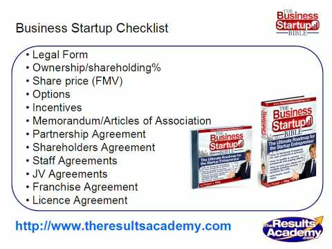 Business Startup Checklist Part 8 from  Business Startup Coach Fraser Hay