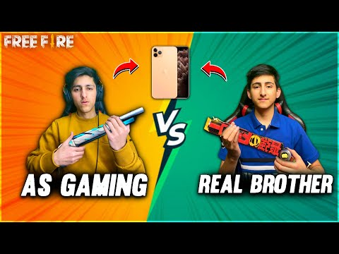 As Gaming Vs Real Brother   I Phone Challenge Free Fire😍  My Brother Face Reveal - Garena Free Fire
