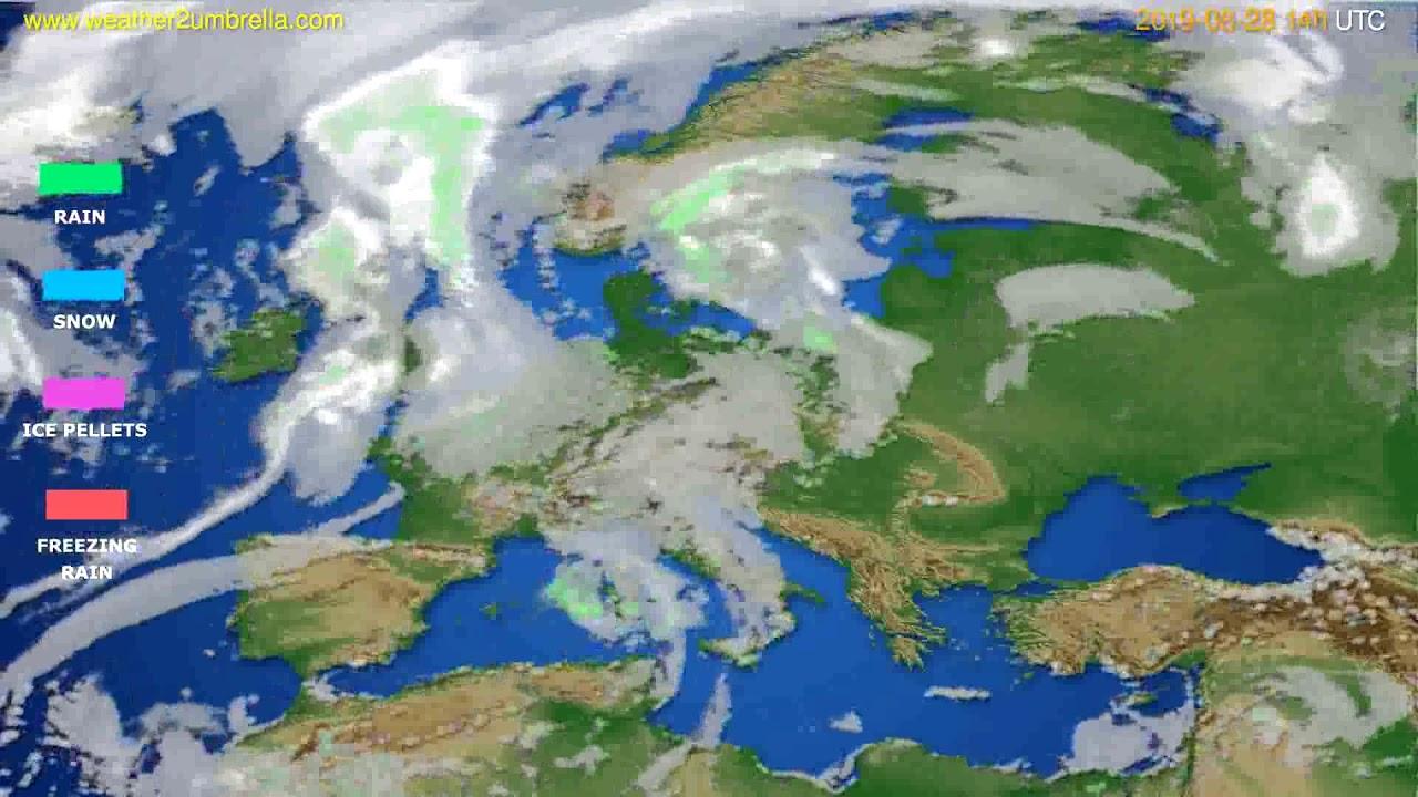 Precipitation forecast Europe // modelrun: 12h UTC 2019-08-26