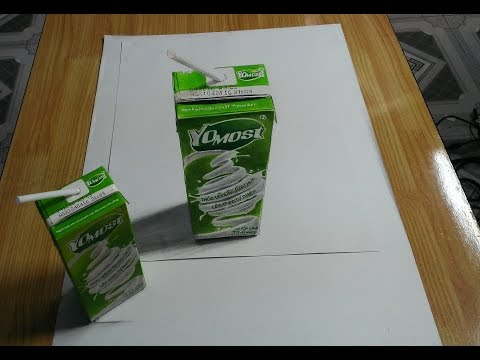 Vẽ 3D _ vẽ hộp sữa yomost _ DP Trương _ 3D Drawing with colored pencils (видео)