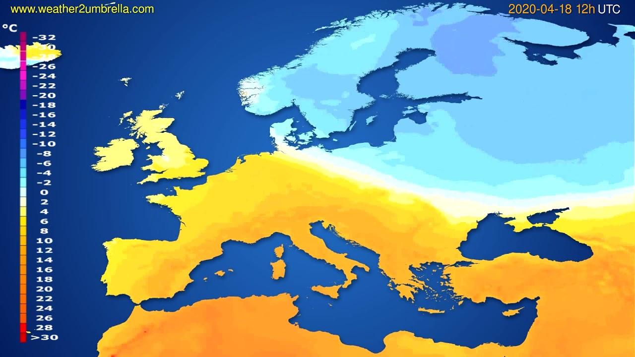 Temperature forecast Europe // modelrun: 00h UTC 2020-04-18
