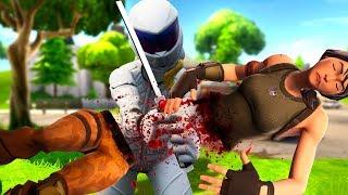 Ninja's Wife Chops a Noob in half - Fortnite Battle Royale Whiteout SKIN Challenge