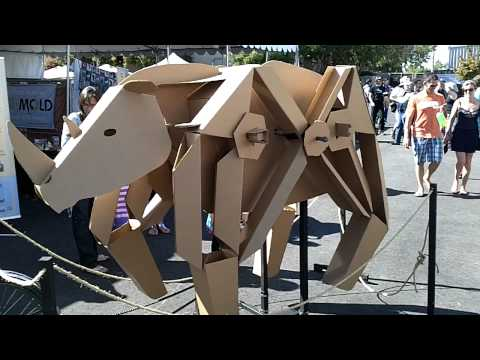 cardboard animals - Rhino! Theo Jansen inspired Kinetic Cardboard Animal at Maker Faire. Tens of thousands of people visit the San Mateo County Fairgrounds on Saturday and Sunda...