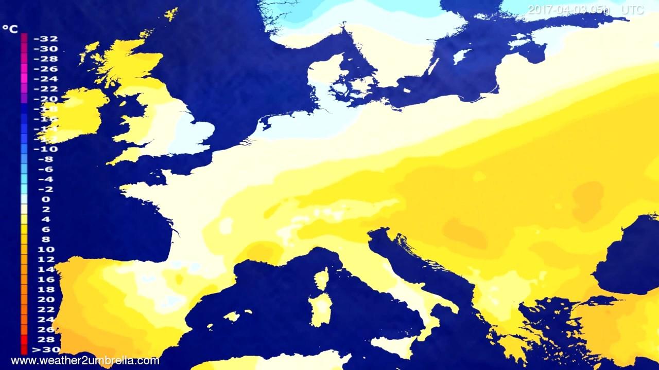 Temperature forecast Europe 2017-03-31