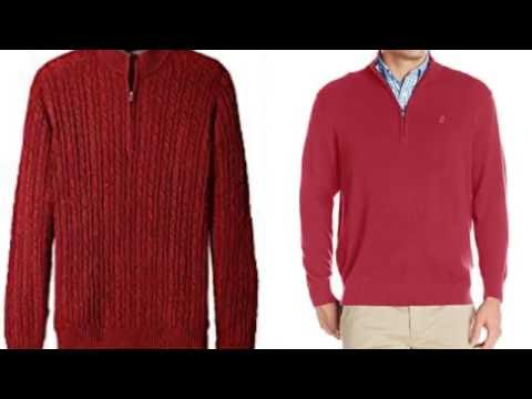 Red mens cable solid knit 1/4-Quarter zip sweater