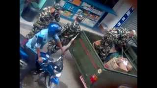 Nepal Army Illegally selling petrol using Nepal Army pickup truck