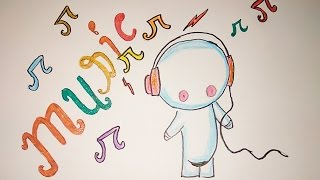 Very easy cutie pie drawing, Cutie pie listening music poster, cutiepie listening music drawing