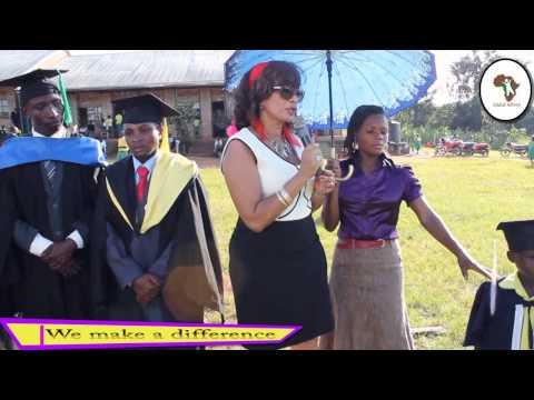 Julie Solberg giving a speech at a graduation at Child Africa Junior School Equator