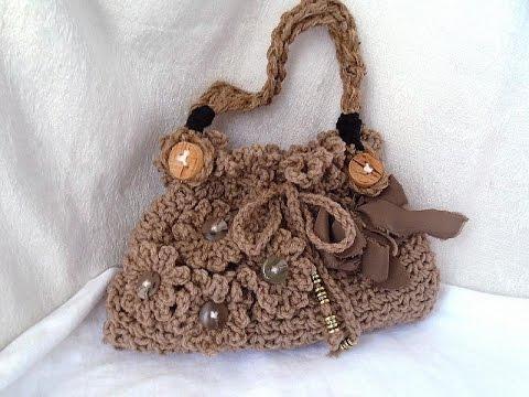 DIY CROCHET PURSE, frilly, stylish crochet handbag or shoulderbag, and line a bag,