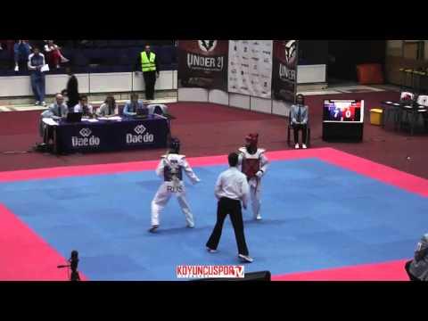 49kg Semifinal Kustova Luliia (RUS) vs (TUR) Dosucukur, Zehra (-21 European TKD Championships 2015) (видео)