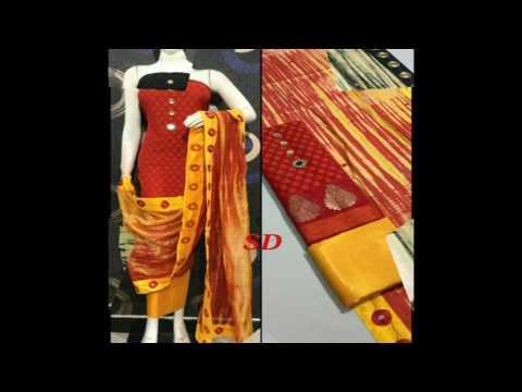 latest designer banaras chanderi silk dress material for women/fashion9tv/price:1075 /-