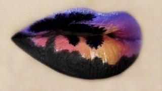 Tropical Sunset Lip Art - YouTube