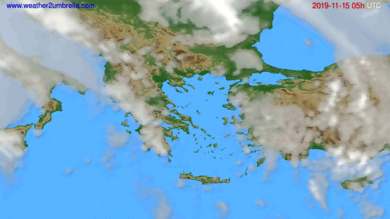 Cloud forecast Greece // modelrun: 12h UTC 2019-11-13
