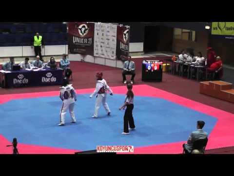 62kg Bodine SCHOEMAKERS (NED) vs (GIN) RAHMANI,Rugia (-21 European TKD Championships 2015) (видео)