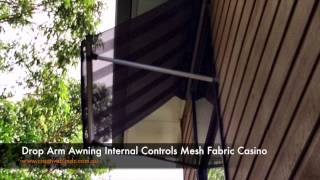 Drop Arm Awnings Lismore with Internal Controls Mesh Casino