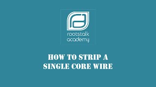 How to strip a single core wire (School Edition)