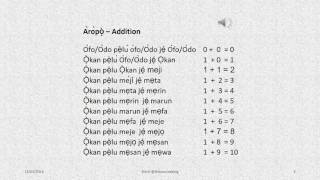 The words for Addition, Subtraction, Multiplication and Division in Yoruba and examples. Yoruba Language for adding 1 to 0-10, subtraction of 20-10, 12-5, 19...