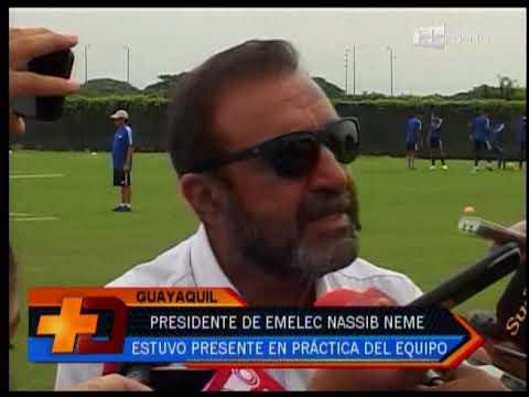Presidente de Emelec Nassib Neme estuvo presente en práctica del equipo