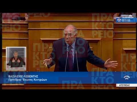 Ομιλία Β.Λεβέντη (Πρόεδρος Ένωσης Κεντρώων) στη βουλή για τον Προϋπολογισμό 2018