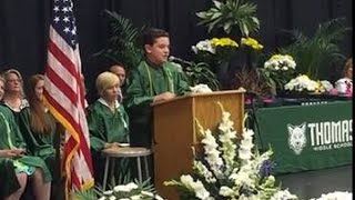 Must-watch!  14-yr-old does Donald, Hillary, Bernie, Ted in WOW graduation speech!