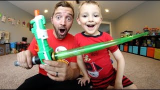 Father & Son GET NERF LIGHTSABER! So Much Fun!