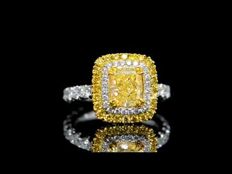 EGL Certified 2.01ct Fancy Intense Yellow Diamond Ring